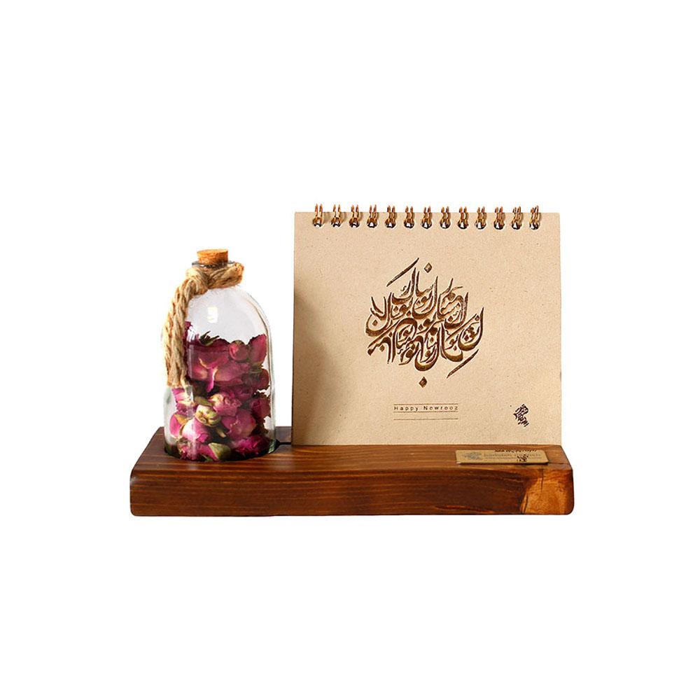 تقویم رومیزی چوبی همراه با رایحه گل سرخ