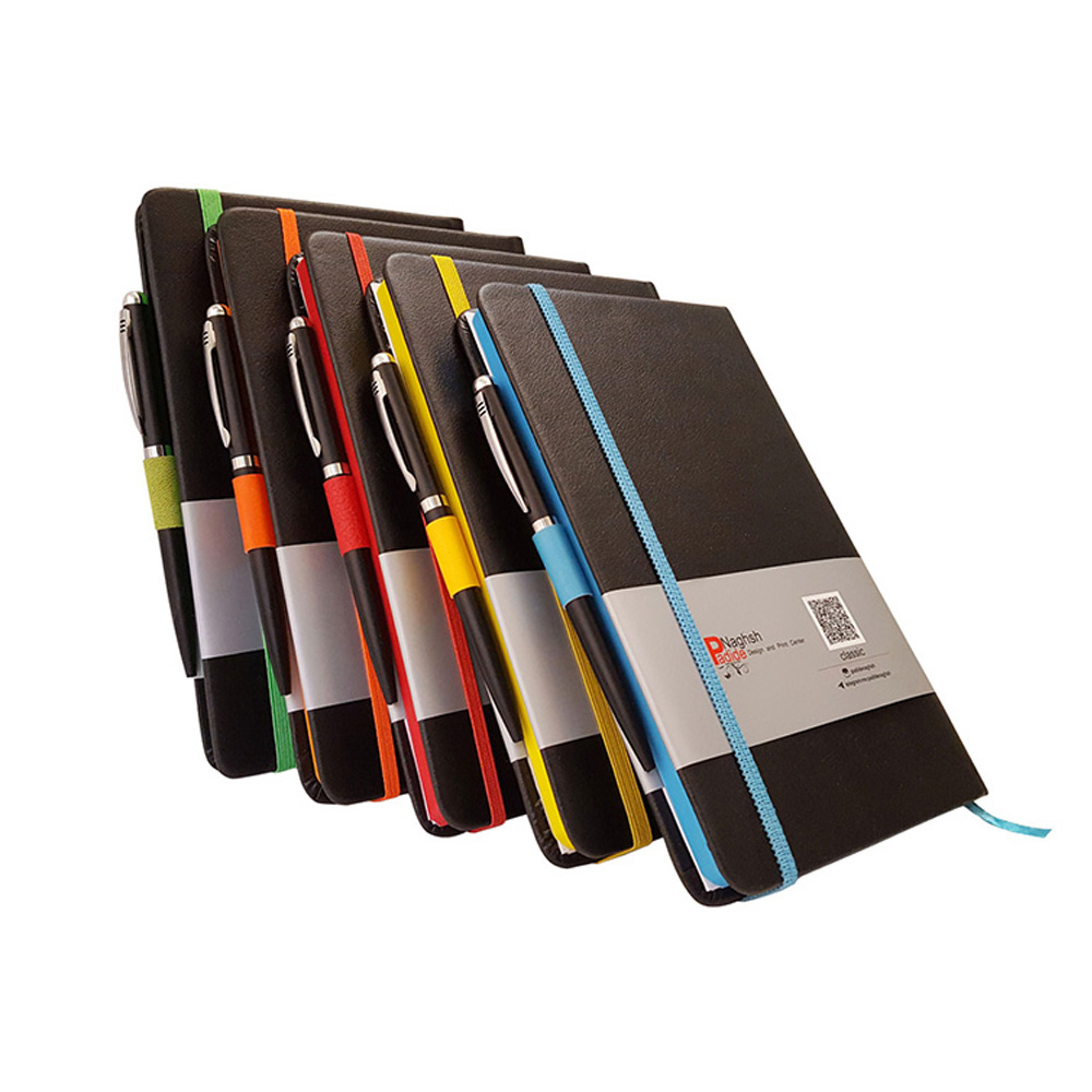 سررسید اروپایی چرمی مدل مداد رنگی همراه با خودکار