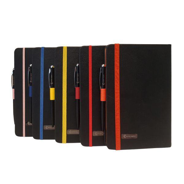 دفتر یادداشت اروپایی مدل مداد رنگی همراه با خودکار (بسته 5 عددی)