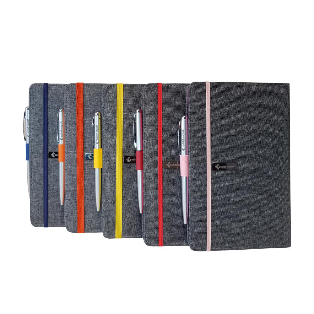دفتر یادداشت پارچه ای مدل کبریتی همراه با خودکار (بسته ۵ عددی)