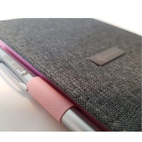 دفتر یادداشت پارچه ای مدل کبریتی همراه با خودکار 8