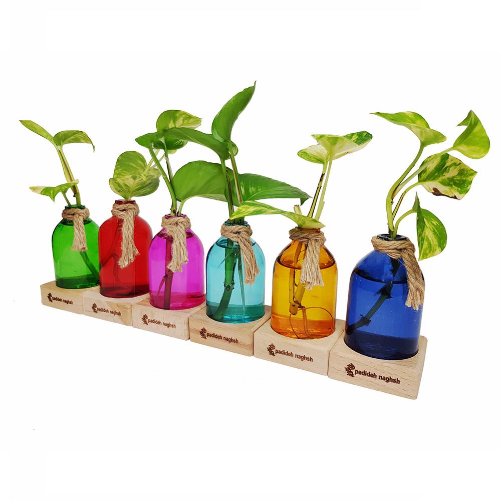گلدان دکوری شیشه ای مدل آنتیک مجموعه ۶ عددی